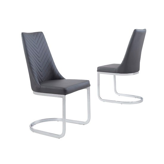 Roxy Modern Dining Chair In Grey Faux Leather in A Pair