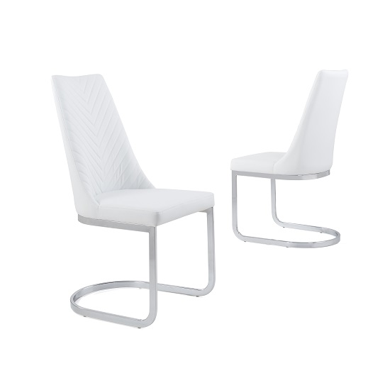 Roxy Modern Dining Chair In White Faux Leather in A Pair