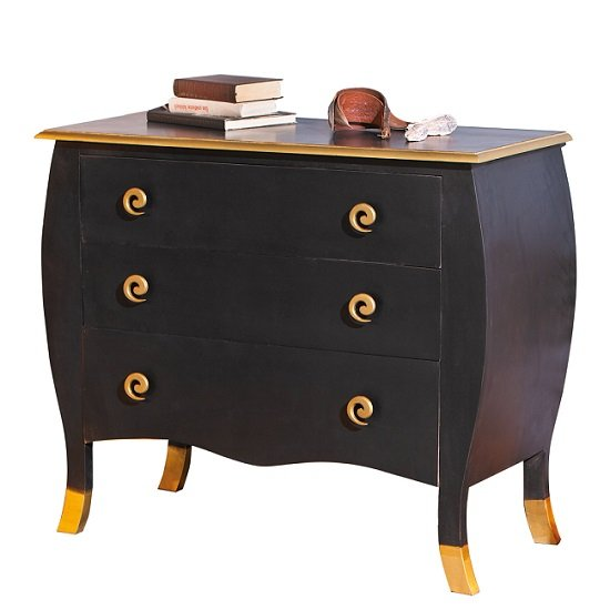 Royal Vintage Chest Of Drawers Baroque Style In Black And Gold