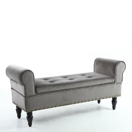 royce ottoman storage chaise in grey velvet with wooden legs1 - Grey Ottoman