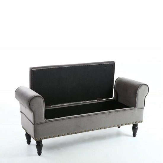 royce ottoman storage chaise in grey velvet with wooden legs3 - Grey Ottoman
