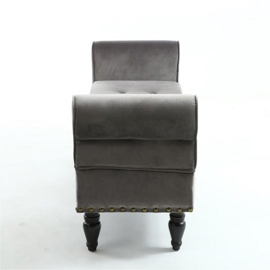 Royce Ottoman Storage Chaise In Grey Velvet With Wooden Legs_5