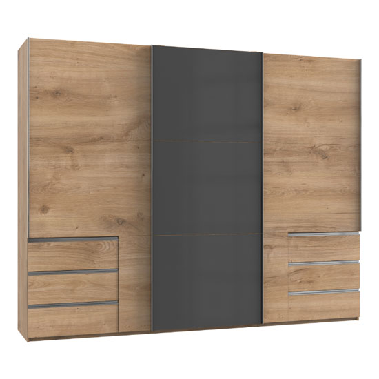 Royd Mirrored Sliding Wardrobe In Grey And Planked Oak 3 Doors