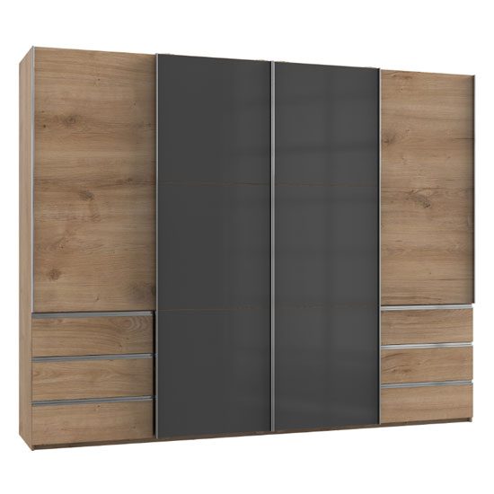 Royd Mirrored Sliding Wardrobe In Grey And Planked Oak 4 Doors