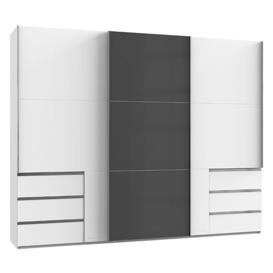 Royd Mirrored Sliding Wardrobe In Grey And White 3 Doors