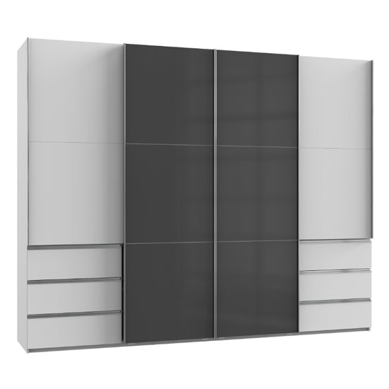 Royd Mirrored Sliding Wardrobe In Grey And White 4 Doors