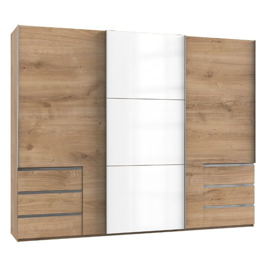 Royd Mirrored Sliding Wardrobe In White And Planked Oak 3 Doors