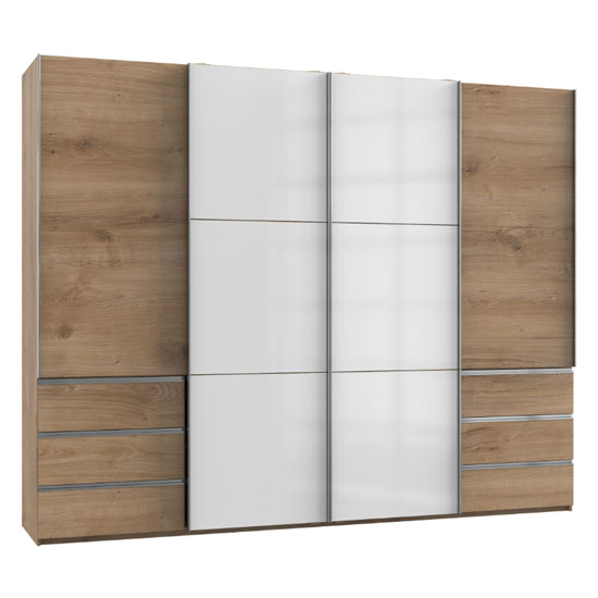 Royd Mirrored Sliding Wardrobe In White And Planked Oak 4 Doors_1
