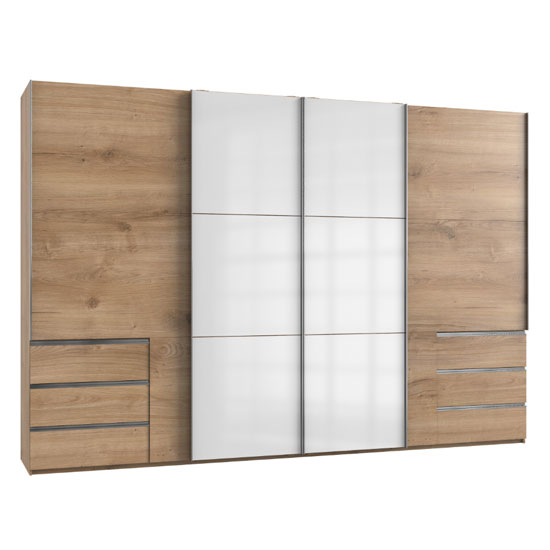 Royd Mirrored Sliding Wide Wardrobe In White Planked Oak 4 Doors