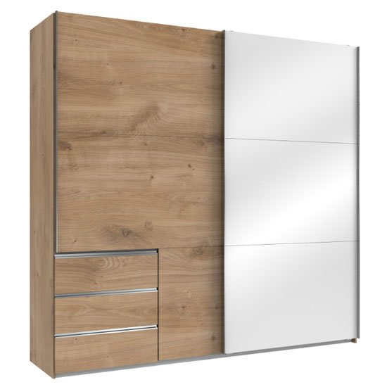 Royd Mirrored Sliding Wide Wardrobe In White And Planked Oak