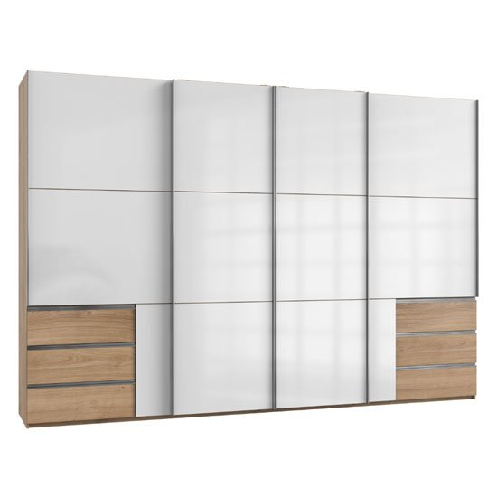 Royd Sliding Wide Wardrobe In White And Planked Oak 4 Doors