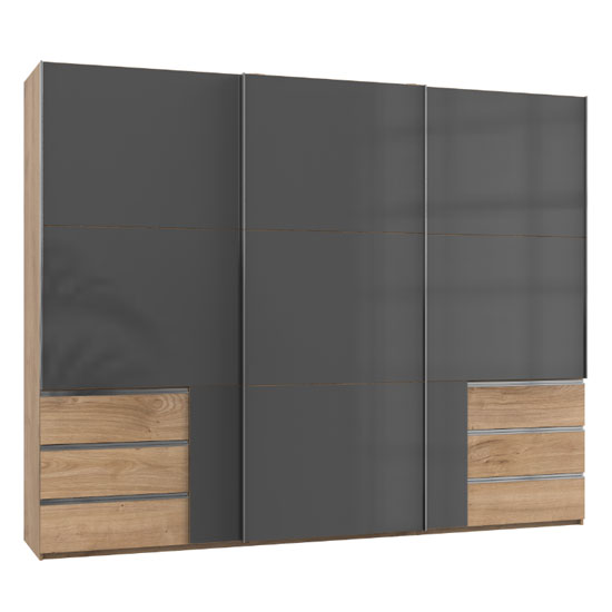 Royd Wooden Sliding Wardrobe In Grey And Planked Oak 3 Doors_1