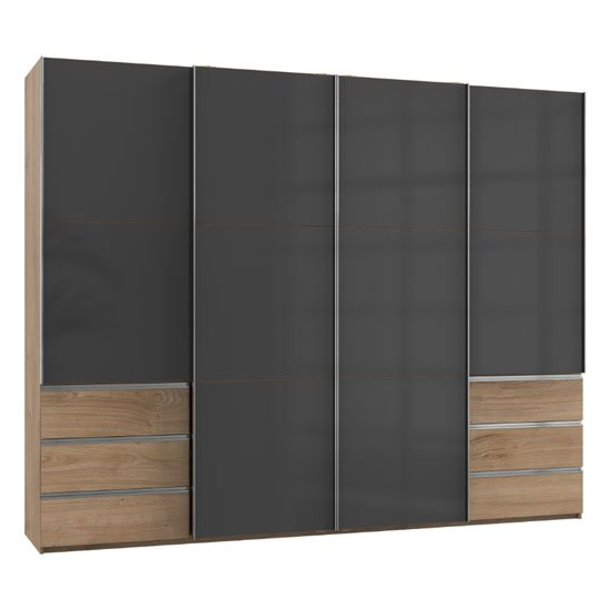 Royd Wooden Sliding Wardrobe In Grey And Planked Oak 4 Doors