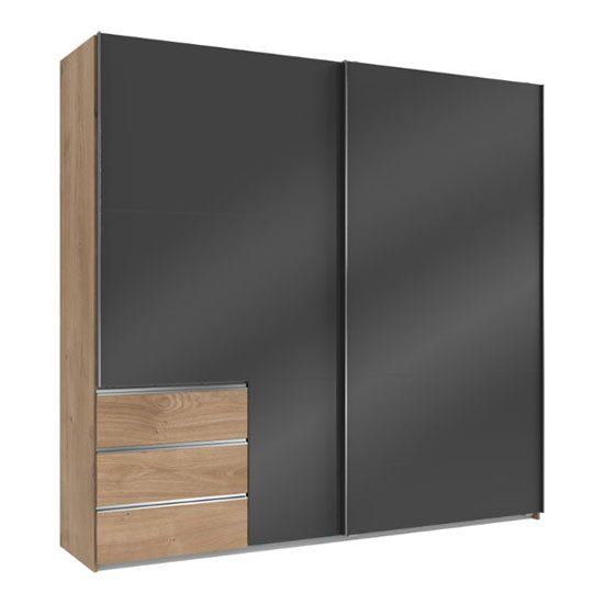 Royd Wooden Sliding Wardrobe In Grey And Planked Oak_1