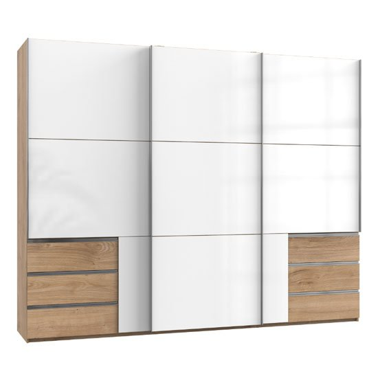Royd Wooden Sliding Wardrobe In White And Planked Oak 3 Doors