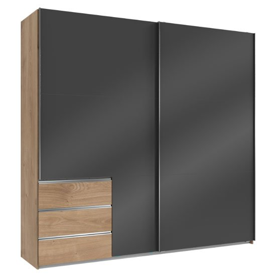 Royd Wooden Sliding Wide Wardrobe In Grey And Planked Oak