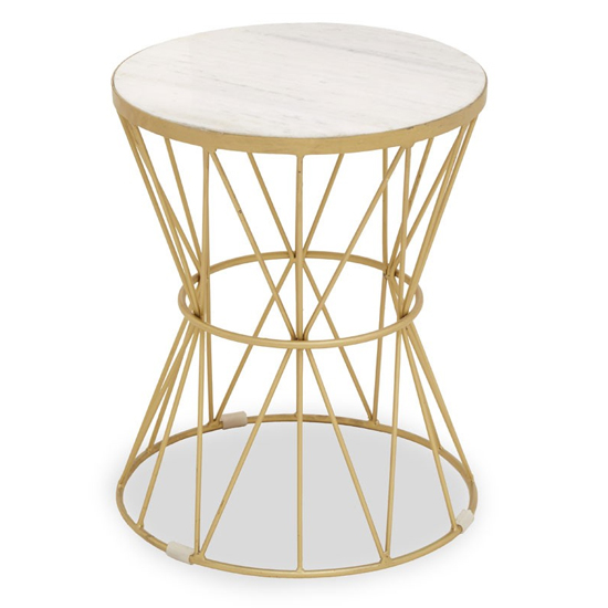 View Mekbuda round white marble top side table with gold metal base
