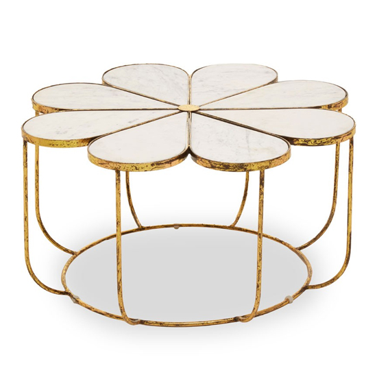 View Mekbuda white marble top coffee table with gold metal base