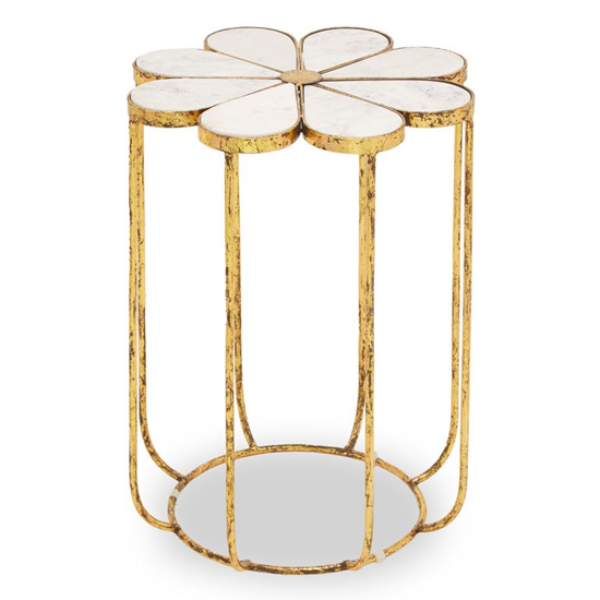 View Mekbuda white marble top side table with gold metal base