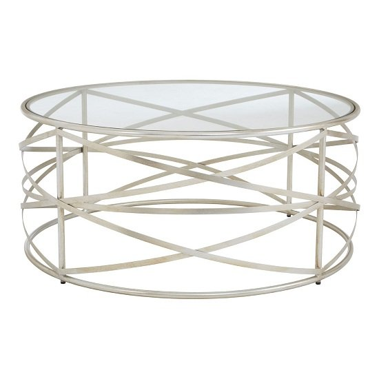 Muscida Clear Tempered Glass Coffee Table In Silver