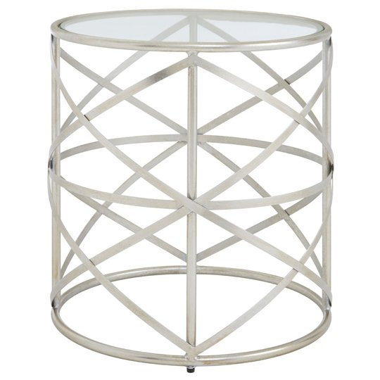 Muscida Tempered Glass Side Table With Iron Legs    _2