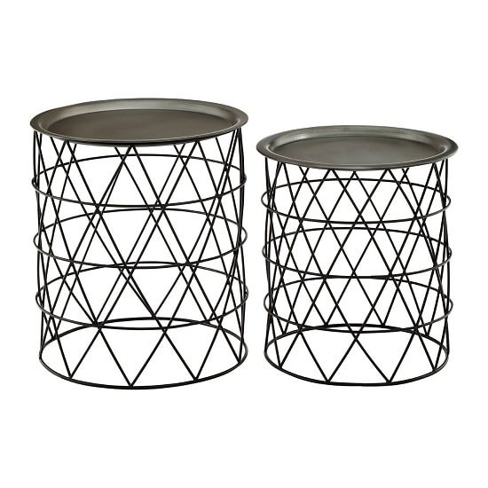 Rubis Set Of 2 Side Tables In Zinc Top And Black Iron