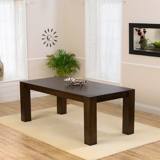 Rubis Wooden Dining Table Rectangular In Dark Solid Oak