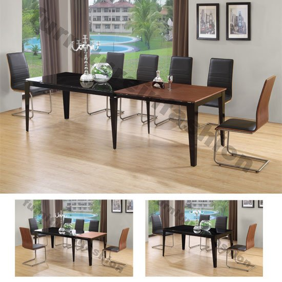 Rubix Extending Black Walnut Dining Table And 8 Rubix Chairs