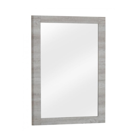 Rufford Wooden Wall Mirror Rectangular In Grey Oak Effect