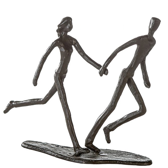 View Running iron design sculpture in burnished bronze