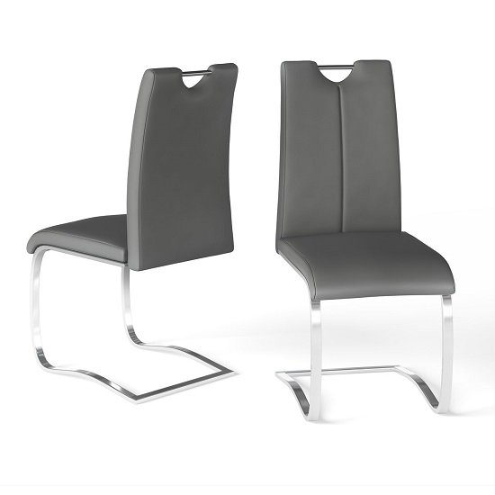 Gabi Grey Faux Leather Dining Chair In A Pair