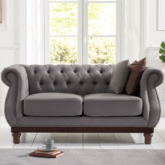 Ruskin 2 Seater Sofa In Grey Linen With Dark Ash Legs