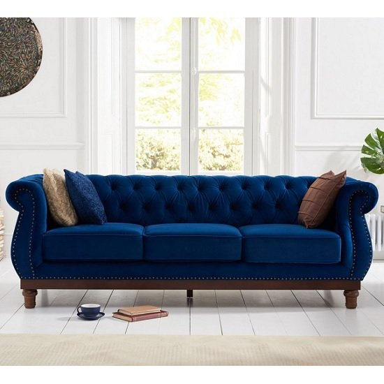 Ruskin 3 Seater Sofa In Blue Plush With Dark Ash Legs