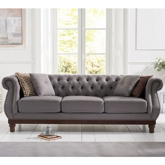Ruskin 3 Seater Sofa In Grey Linen With Dark Ash Legs