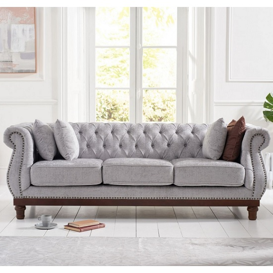 Ruskin 3 Seater Sofa In Grey Plush With Dark Ash Legs