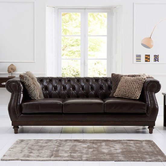 Ruskin 3 Seater Sofa In Brown Leather With Dark Ash Legs