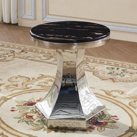Russet Marble Effect Lamp Table In Black And Stainless Steel