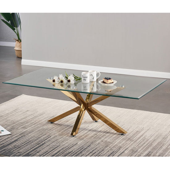 Russo Glass Coffee Table In Clear With Gold Steel Base
