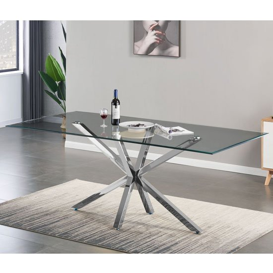 Russo Glass Dining Table In Clear With Silver Steel Base