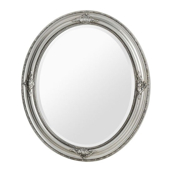 Rustin Oval Vintage Design Wall Bedroom Mirror In Silver Frame