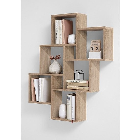 Rutland Wooden Wall Mounted Shelving Unit In Oak