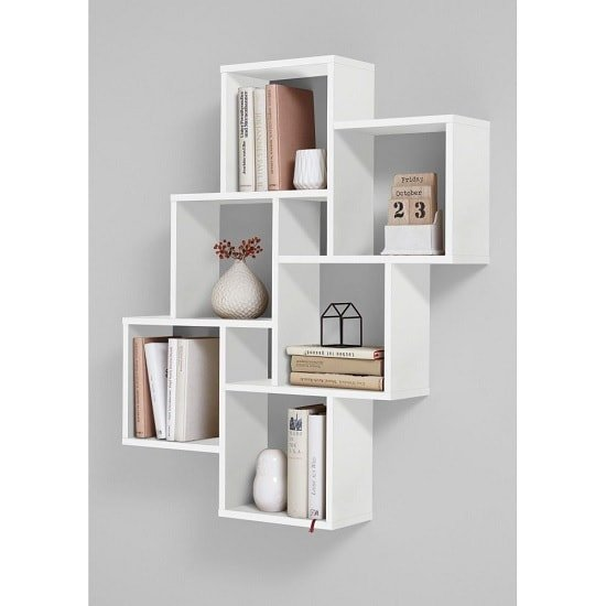 Rutland Wooden Wall Mounted Shelving Unit In White