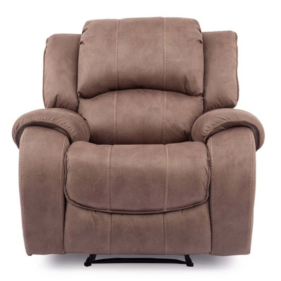Ryan Textured Fabric 1 Seater Electric Recliner Chair In Biscuit