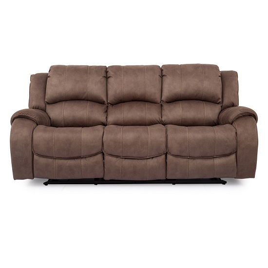 Ryan Recliner Textured Fabric Three Seater Sofa In Biscuit