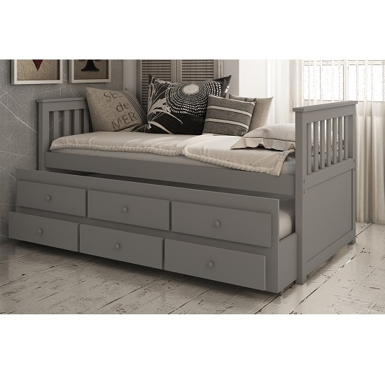 Ryegate Wooden Pull Out Trundle Day Bed In Grey Finish