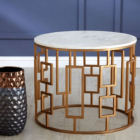 Ryley Round Side Table In Marble Top With Gold Iron Legs