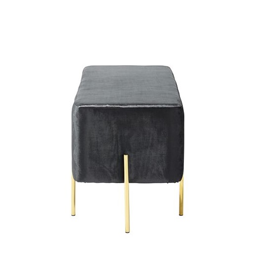 Ryman Bench In Black Velvet And Gold Plated Stainless Steel_3