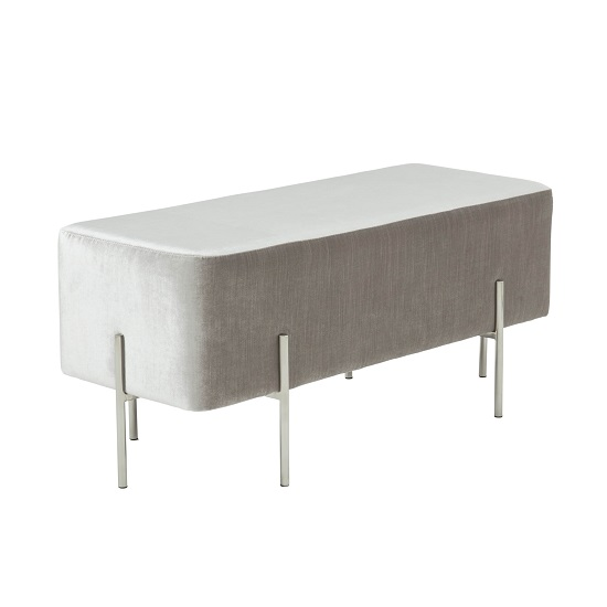 Ryman Bench In Grey Velvet And Polished Stainless Steel