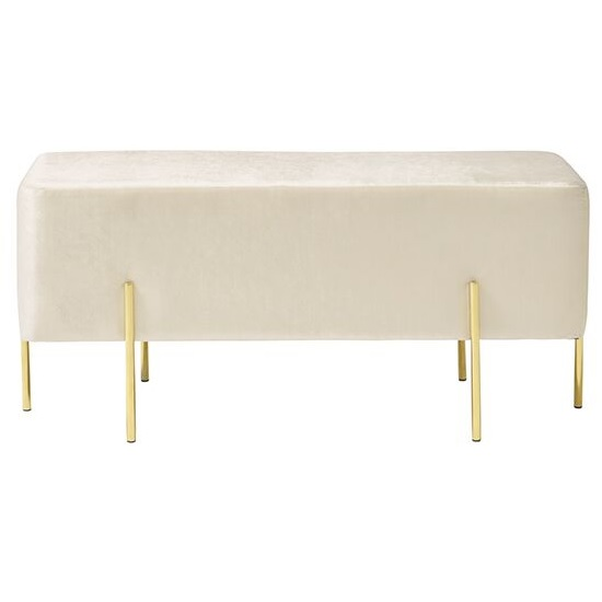 Ryman Bench In White Velvet And Gold Plated Stainless Steel_2
