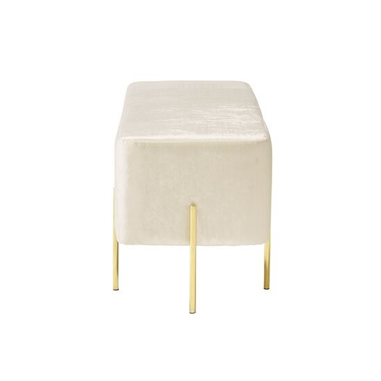 Ryman Bench In White Velvet And Gold Plated Stainless Steel_3